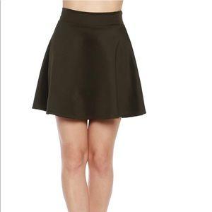 Olive Green High Waisted Skater Skirt NWOT